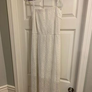 White/off white lace strapless dress.